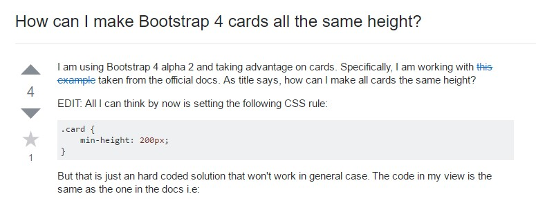 Insights on how can we  set up Bootstrap 4 cards  all the same  height?
